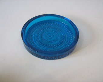 Vintage Small Pretty Royal Blue Round  Patterned Glass Dish /MEMsArtShop.