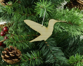 Hummingbird Ornament in Wood or Mirror Acrylic Customizable with Name - Design 4