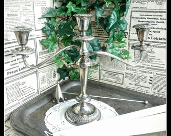 Vintage silverplated candle holder or candlestick for three candles