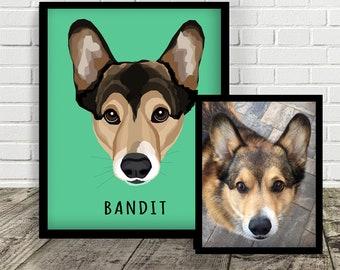 8x10 CUSTOM PRINT | Custom Pet Illustration | Made from photo | Dog | Cat