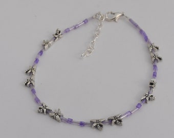 Violet Purple Dragonfly Ankle Bracelet, Dragonfly Anklet, Beach Jewelry, Seed Bead, Silver Plated, Dragonfly Beads, Adjustable up to 11""