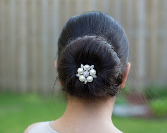 Wedding HeadPiece, Bridal Headpiece, Pearl HeadPiece, Pearl Bridal Hair Comb, Pearl Wedding Hair Comb,  Pearl Rhinestone headpiece,