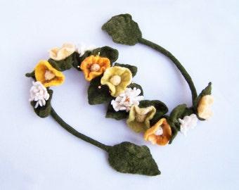 Bohemian crown flower headband necklace bracelet wrap Yellow poppy and daisy floral Bohemian Romantic wedding Woman Lady Multiuse 2016