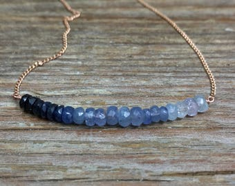 Sapphire bar necklace / Blue sapphire necklace / Gift for wife / Anniversary gift / Gift for her / September birthstone necklace / For mom