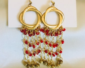 Red Elegance Earrings - Matching Necklace Available