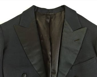 Vintage 40s 1941 Dated Tyler-Galbraith Inc. Midnight Blue Tuxedo Tail Coat 34-36