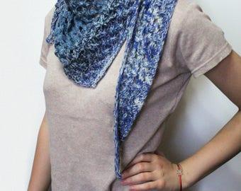 Triangular scarf, Knitted scarf, Knit shawl, knit scarf, crochet shawl, gray  scarf shawl, lace shawl, handknit shawl, handknit scarf