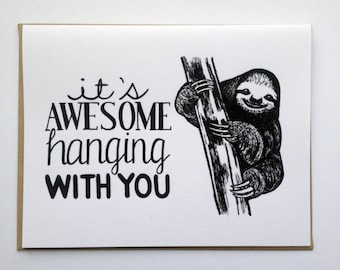 It's Awesome Hanging With You - Hand Lettered Greeting Card