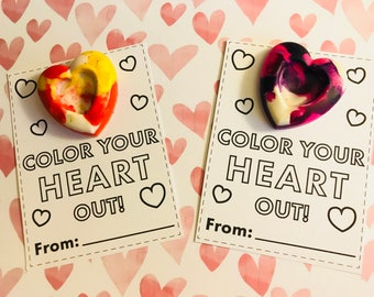 Color Your Heart Out Valentine's Crayons // Heart Crayon Favors // Rainbow Crayons // non candy class treats // Valentine Favors