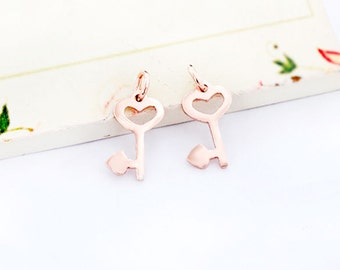 4 of 925 sterling silver Rose Gold  Vermeil Style Key to my Heart Charms 8x14mm. :pg0296