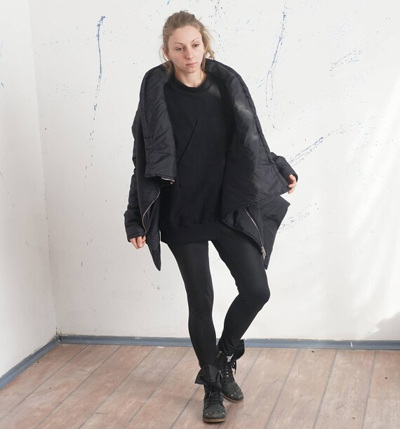Extravagant Puffer Coat, Asymmetric Oversized Jacket, Loose Waterproof Windproof Padded Jacket, Black Extra Long Sleeves Jacket, Spring Coat