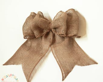 Natural Burlap Bow, Two Loop Burlap Bow, Boutique Bow, Wreath Accent, Bow