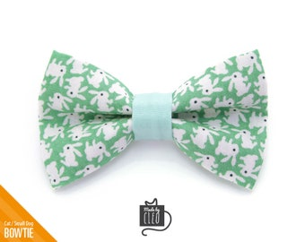 """Easter Cat Bow Tie - """"Hoppy Hour / Mint Green"""" - Bunny Cat Collar Bow Tie / Kitten Bow Tie / Rabbit / Small Dog Bow Tie - Removable"""
