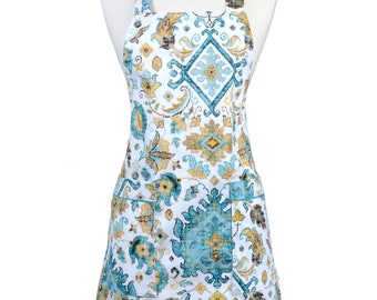 Japanese Crossback Apron Canvas Teal and Metallic Gold on Ivory Damask Retro Print - Womens Vintage Style Crossover Pinafore Kitchen Apron