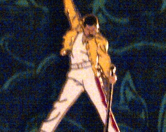 Freddie Mercury Lapel Pin: Freddie Mercury Don't Stop Now Fist Up in Classic Yellow Jacket Party Pin