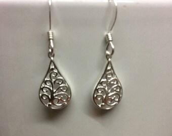 Silver filigree earrings, silver drop earrings, dainty earrings, bridesmaids earrings, gift for her, dainty silver earrings SALE