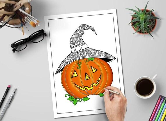 Halloween Coloring Pages Cute Pumpkin Zentangle