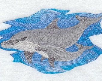 Dolphin and Baby Embroidered Flour Sack Towel, Dolphin and Baby Towel, Dolphin Towel