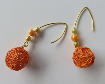 "Earrings ""Edona"", gold and orange and Golden beads"