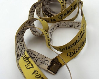 Vintage Tape Measure - French Menswear promotional/advertisement Lemon Yellow and White coated fabric - excellent vintage condition