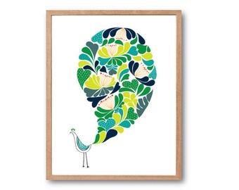 Girl room decorations, Nursery Print, Floral Peacock Art Print  (AUTUMN), Bird Art Print, Peacock Illustration, Peacock Decor, Floral Print