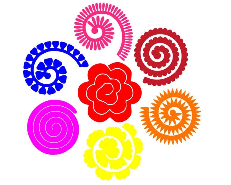 Download Rolled paper flower svg 3d flower svg svg dxf cricut