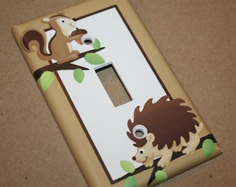 Forest Critters Woodland Animal Boys Bedroom Single Light Switch Cover LS0022