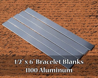50 - 1100 Aluminum 1/2 in. x 6 in. Bracelet Cuff or Bookmark Blanks - Polished Metal Stamping Blanks - 14G 1100 Aluminum - Flat