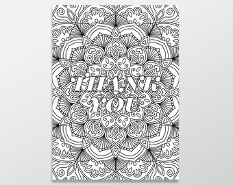 Adult Coloring Thank You Card, , Color Me Greeting Card, Unique Thank You Card, Thanks for Everything, Interactive Greeting Card