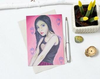 Girl Mysterious Postcard