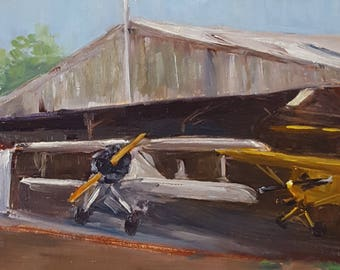 Airplane, Biplane, historic, airfield, WWII, oil painting, plein air, Bucks County, PA, Van Sant, wall art, Wiseheart,