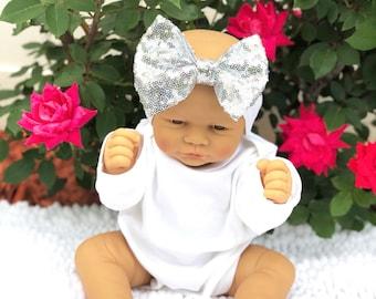 Baby Headband, Silver Sparkle Bow Headband, Baby Sparkle Headband, Sparkle Headband,