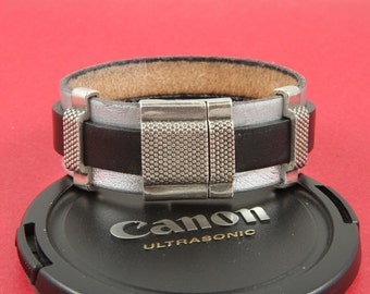 12/2 MADE in EUROPE zamak buckle magnetic clasp for 20mm &10mm flat leather cord, magnetic clasp for 20mm cord bracelet (TM20+10GRT) Qty1