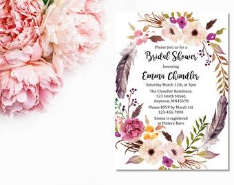 Boho Floral Wreath Bridal Shower Invitation, Printable Floral Boho Bridal Shower Invite, Feathers Boho Bridal Shower Invite, Download, 111-W