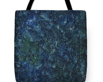 Mother's Day Gift Idea Sea Blue Sea Green Abstract Watercolor Tote Purse Bag