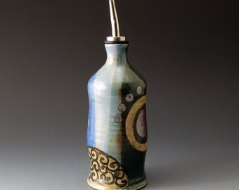 Oil or Vinegar Bottle, Blue and Green Ceramic Cruet, Handmade Ceramic Bottle, Covered Jar