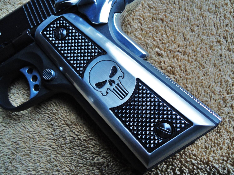 Punisher skull 1911 pistol grips cnc machined satin aluminum zoom publicscrutiny Gallery