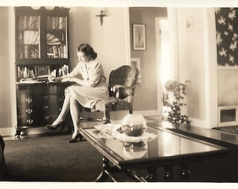 """Vintage Snapshot """"Pen Pals"""" Well-Dressed Woman Writes A Letter Chippendale Desk Formal Home Decor 0ld Photo Vernacular Photography"""