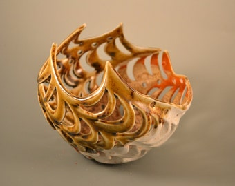 Twisted Sister - Honey amber/warm brown/white/carved/porcelain/sculpture/orchid pot/Tuscan brown/air planter