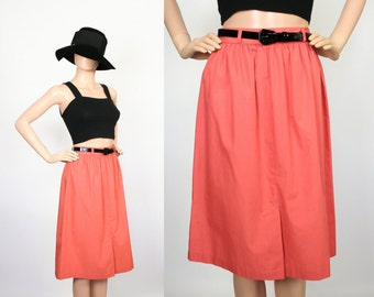 Vintage A-line High Waisted Skirt w/ Black Patent Leather Skinny Belt / 70s Pleated Skirt / 1970s High Waisted Cotton Skirt / Coral / Small