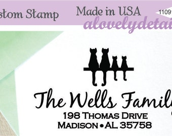 Address stamp Personalized Self ink  Cat lover Family Custom Made Return Address Rubber Stamp great gift