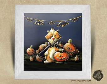 Frame square 25 x 25 birth gift with India Halloween kids nursery baby pig Illustration