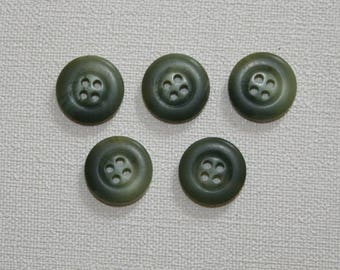 Set of 5 round vintage buttons. Olive green colored buttons.  B29