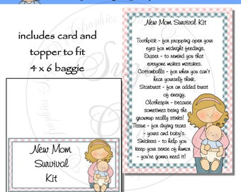 New Mom (or Mummy) Survival Kit includes Topper and Card - Digital Printable - Immediate Download