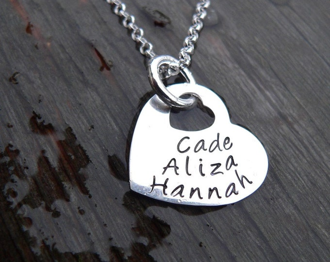 Heart Within My Heart - Solid Sterling - Choose from 10 fonts, Your own Words/Names