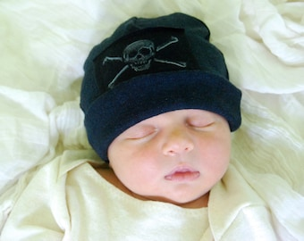 Pirate Newborn Baby Hat -  Organic Cotton Hemp Jersey - Hand Stamped Skull and Crossbones