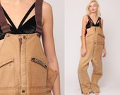 Work Overalls Mens Workwear Coveralls Baggy Pants Cargo Dungarees QUILTED Tan Key Imperial Pants Long Wide Leg Bib Vintage Extra Large 2xl