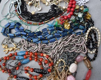 Box Jewelry Lot #3 Mostly Necklaces Wear or Re-Purpose, Mostly Wearable