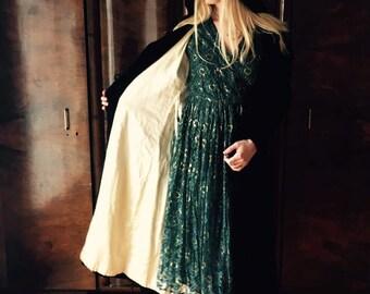 spell coat/opera coat/silk velvet coat/victorian/edwardian coat/black velvet coat/antique 20's coat/evening coat/woodland/witchy/mourning