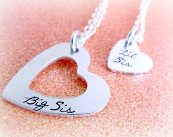 Big Sis Lil Sis Jewelry Set | Sister Heart Necklaces - Hand Stamped Necklace Set for Sisters - Forever Sisters Big and Small Heart Necklaces
